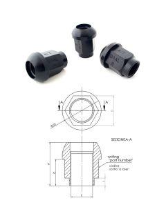 Dado aperto sede sferica raggio 25 mm, chiave SW19, 14X1.5. Materiale Ergal, trattamento: anodizzato (ossidazione profonda nera lucida).