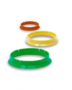Zentrierringe aus Kunststoff 79.5/72.5. Kompatibel mit folgenden Felgenmarken: MILLEMIGLIA, MOMO die Zentrierringe mit einem Außendurchmesser von 79.5 mm verwenden.