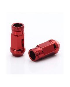 Dado forgiato JN1 aperto di colore rosso, passo 12x1.25 e sede conica 60°.