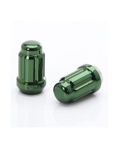 Dado forgiato JN2chiuso di colore verde, passo 12x1.5 e sede conica 60°.