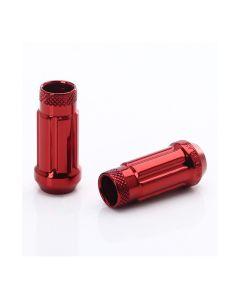 Dado forgiato JN4 aperto di colore rosso, passo 12x1.25 e sede conica 60°.